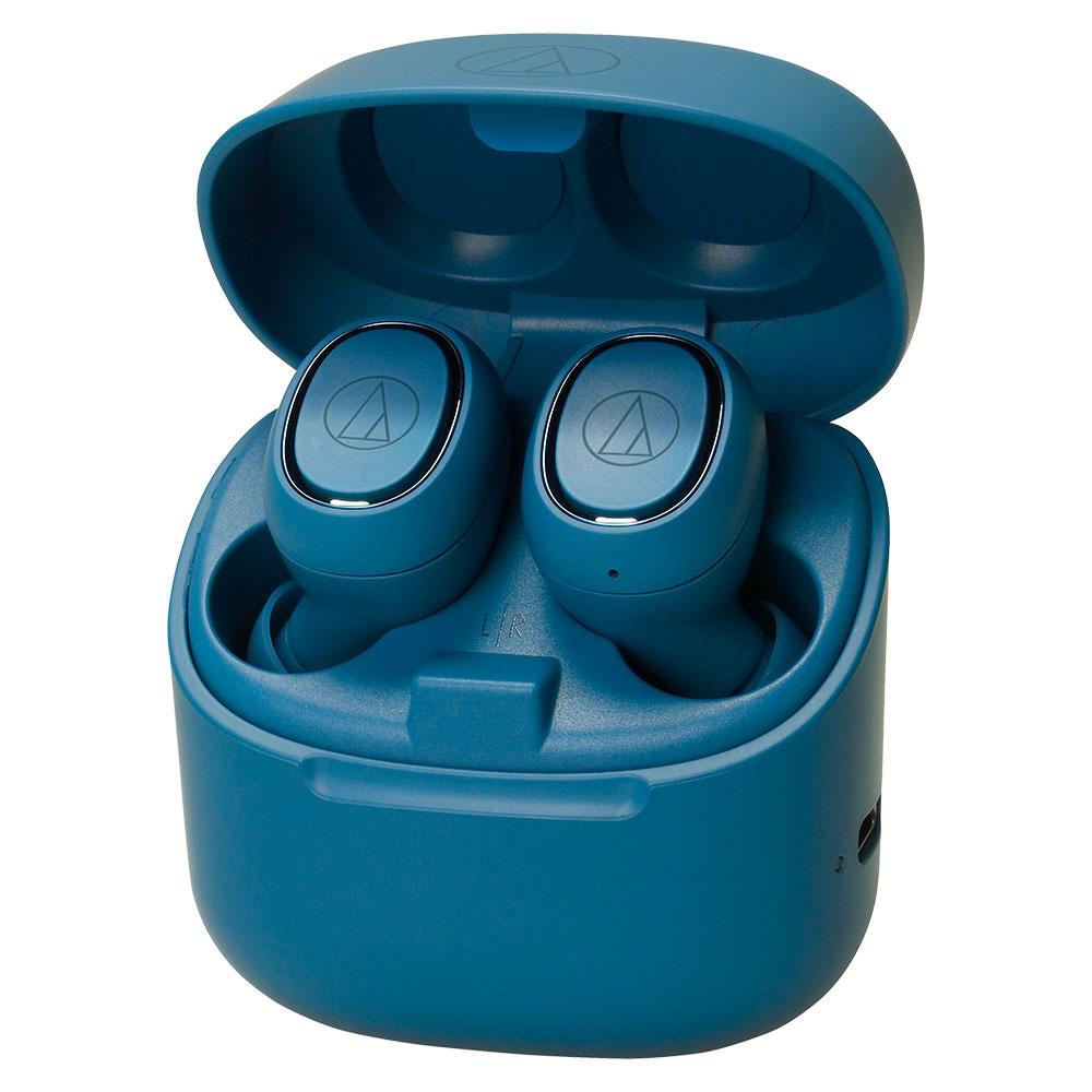 Audio-Technica ATH-CK3TW Blue Headphones - Case