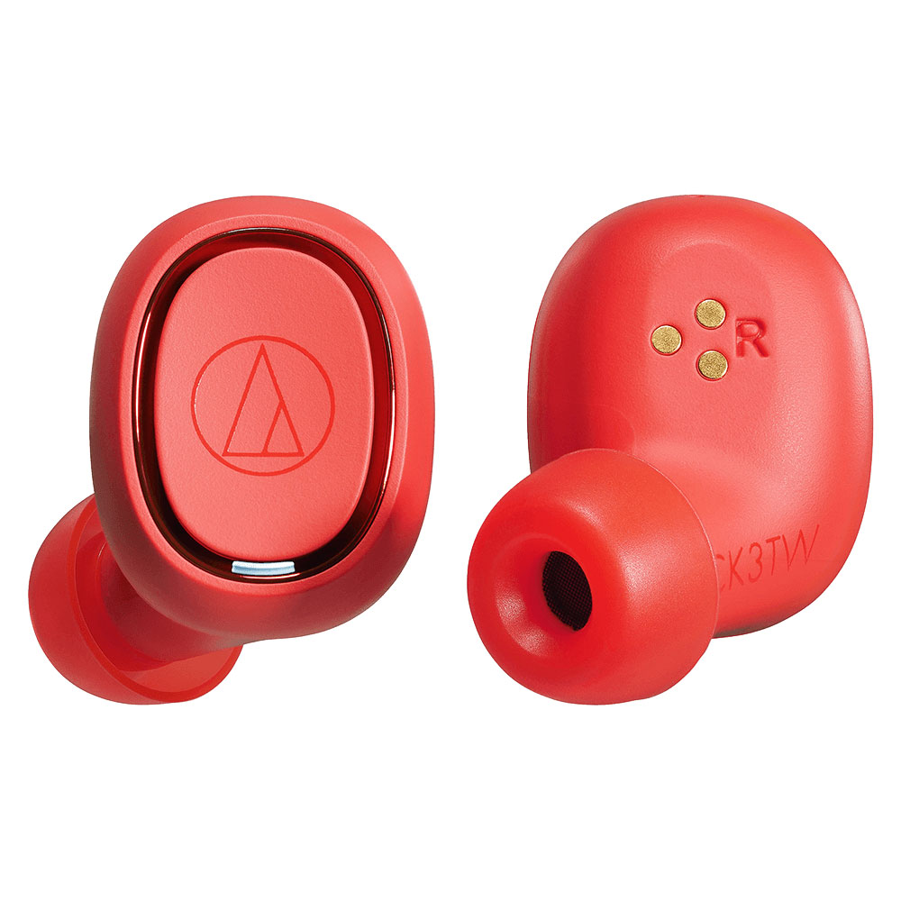 Audio-Technica ATH-CK3TW Red Headphones - Front