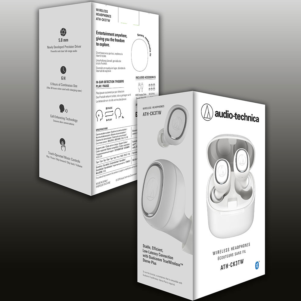 Audio-Technica ATH-CK3TW White Headphones - Packaging