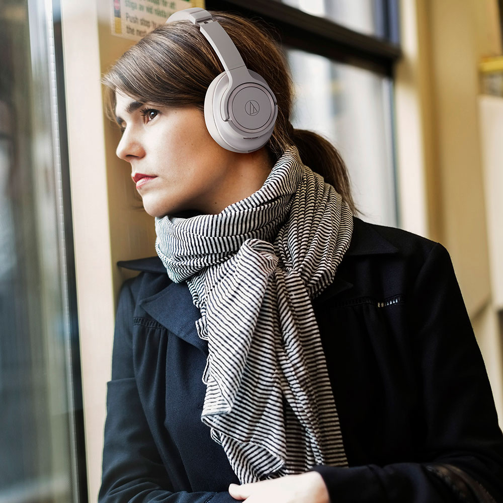 Audio-Technica ATH-SR50BT Headphones - Grey - Product Application - Woman