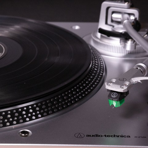 Audio-Technica AT-LP120XUSBSV Turntable - Arm on the Stand