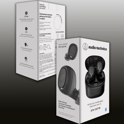 Audio-Technica ATH-CK3TW Black Headphones - Packaging