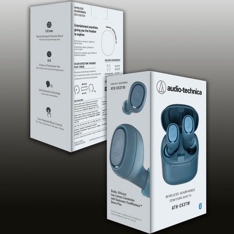 Audio-Technica ATH-CK3TW Blue Headphones - Packaging