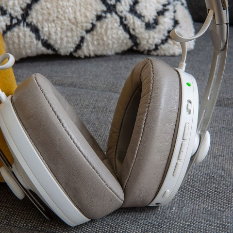 Sennheiser MOMENTUM 3 Wireless White Headphones - On the Couch Close