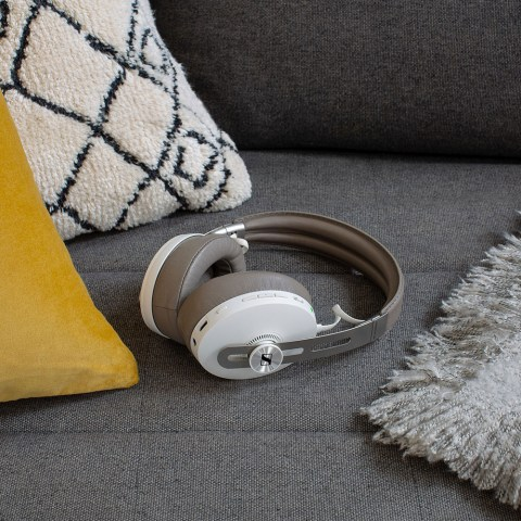 Sennheiser MOMENTUM 3 Wireless White Headphones - On the Couch