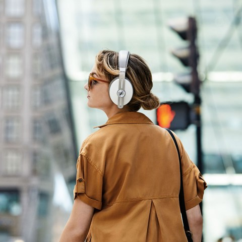 Sennheiser MOMENTUM 3 Wireless White Headphones - Product Application - Woman Back