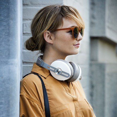 Sennheiser MOMENTUM 3 Wireless White Headphones - Product Application - Woman Close