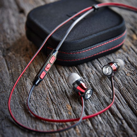 Sennheiser MOMENTUM In-Ear G Red Headphones - Product on a Wooden Table