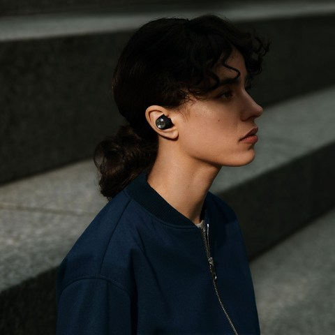 Sennheiser MOMENTUM True Wireless 2 Black Earbuds - In use - Woman