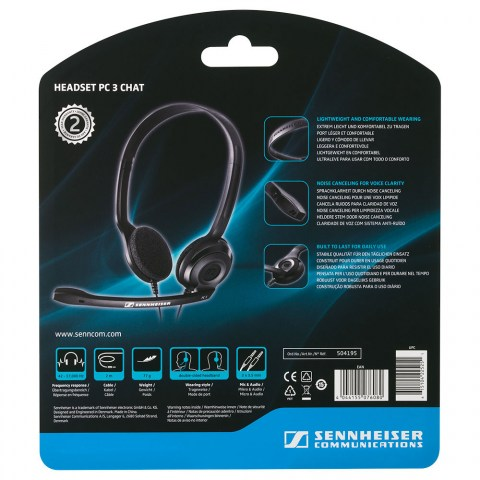 Sennheiser PC 3 Chat Headset - Packaging Back