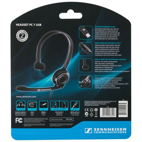 Sennheiser PC 7 USB Headset - Packaging Back