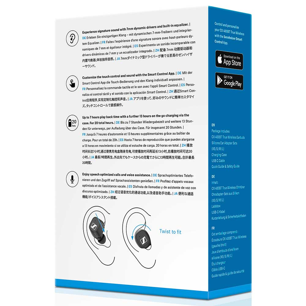Sennheiser CX 400BT True Wireless Black Earbuds - Packaging Back