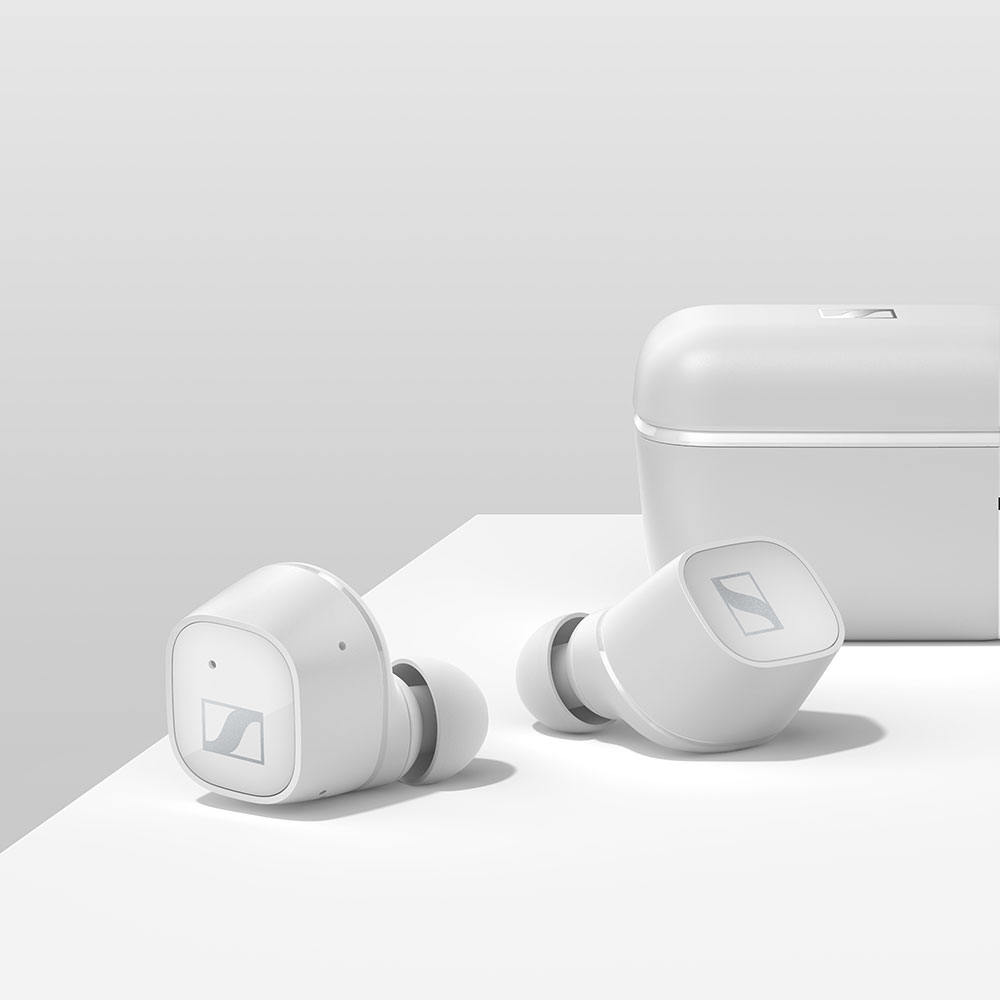 Sennheiser CX 400BT True Wireless White Earbuds - On the table