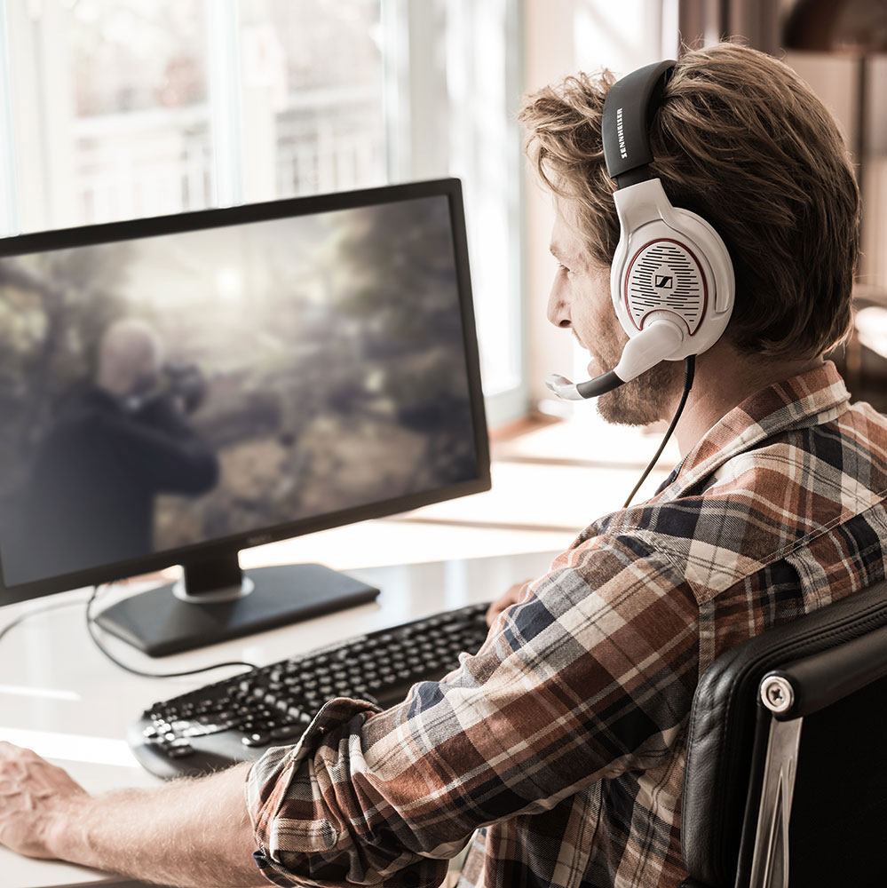 Sennheiser GAME ONE White Headset - Product Application - Man Left