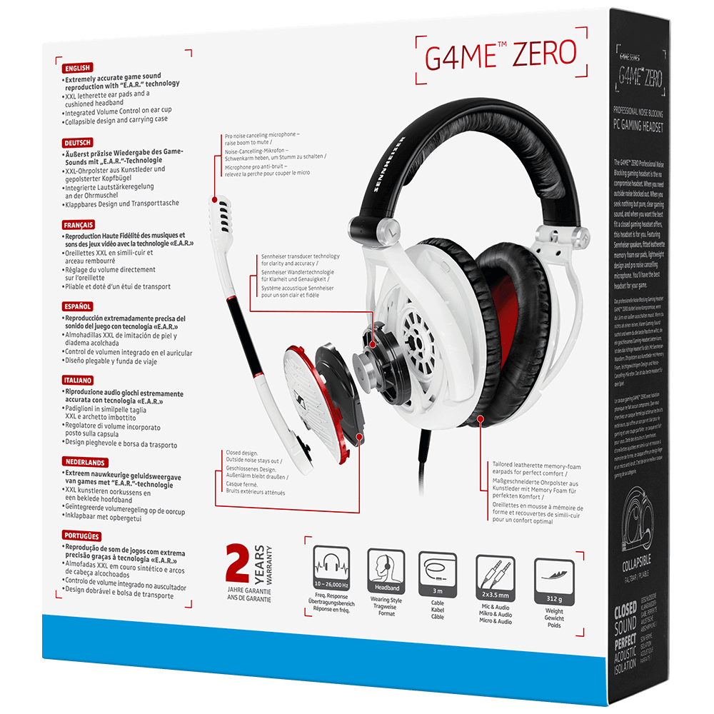 Sennheiser GAME ZERO White Headset - Packaging Back