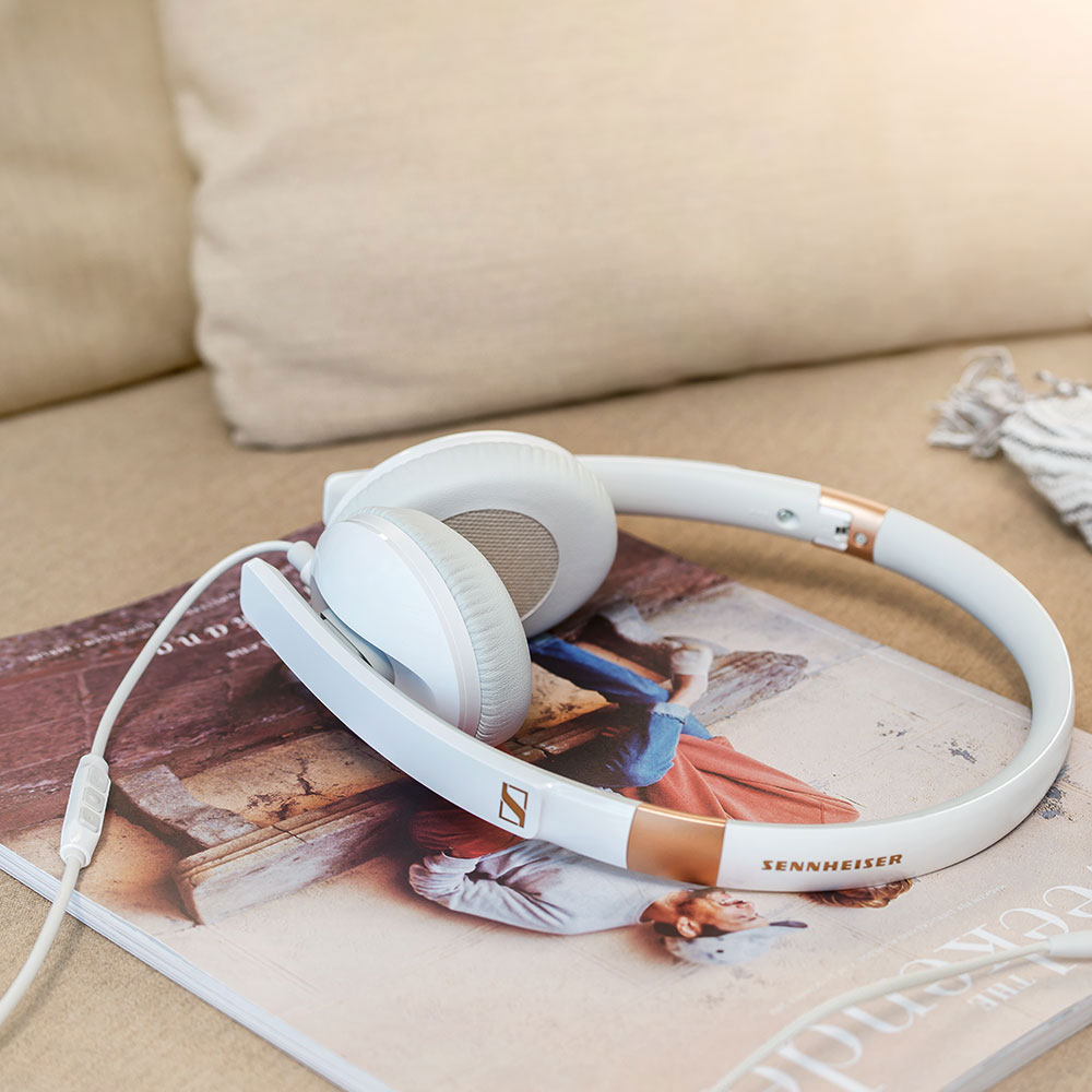 Sennheiser HD 2.30 White Headset - On a Magazine