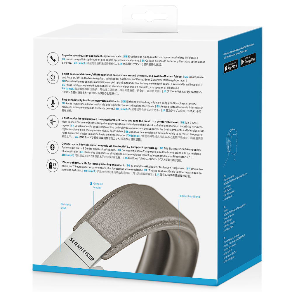Sennheiser MOMENTUM 3 Wireless White Headphones - Packaging Back