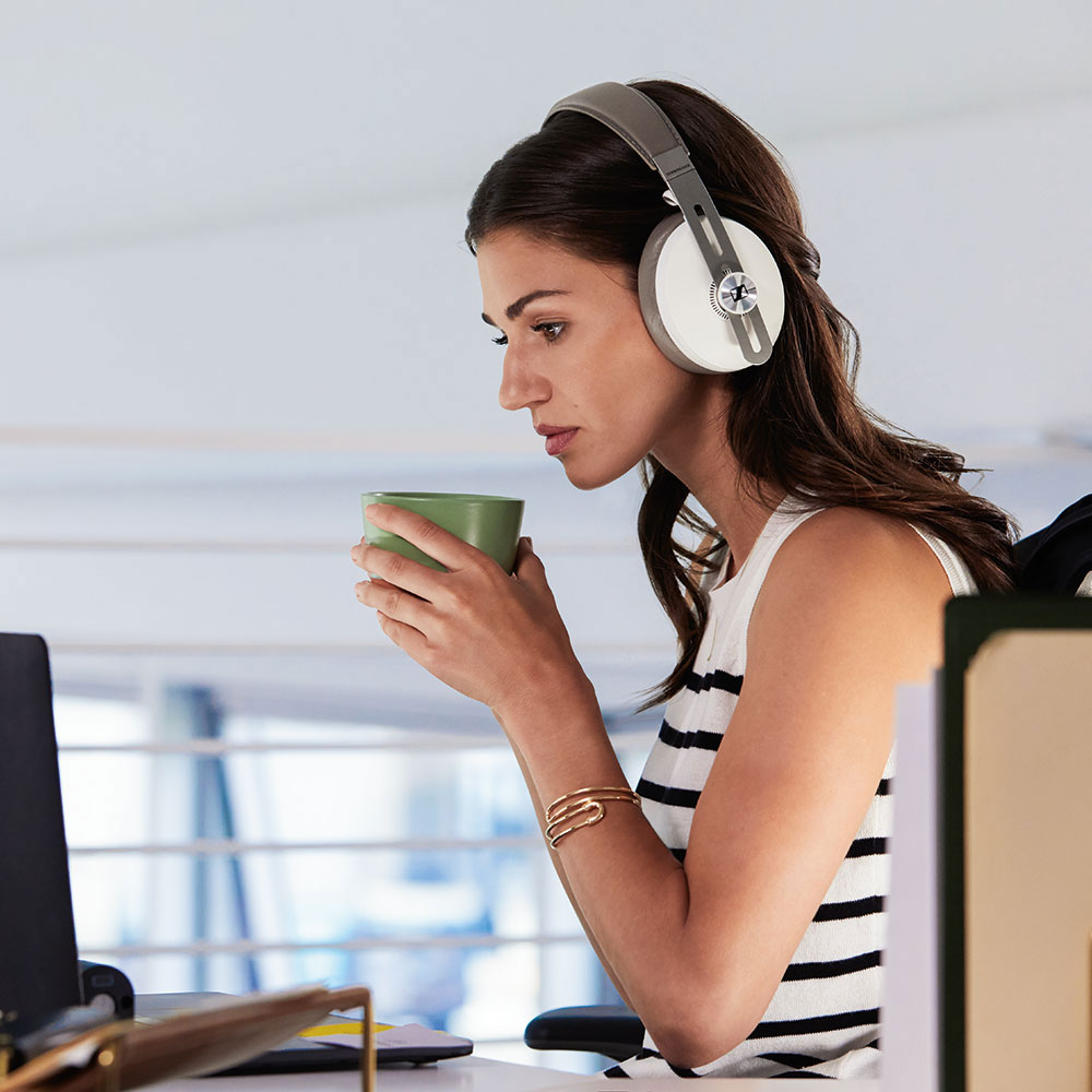 Sennheiser MOMENTUM 3 Wireless White Headphones - Product Application - Woman with Laptop