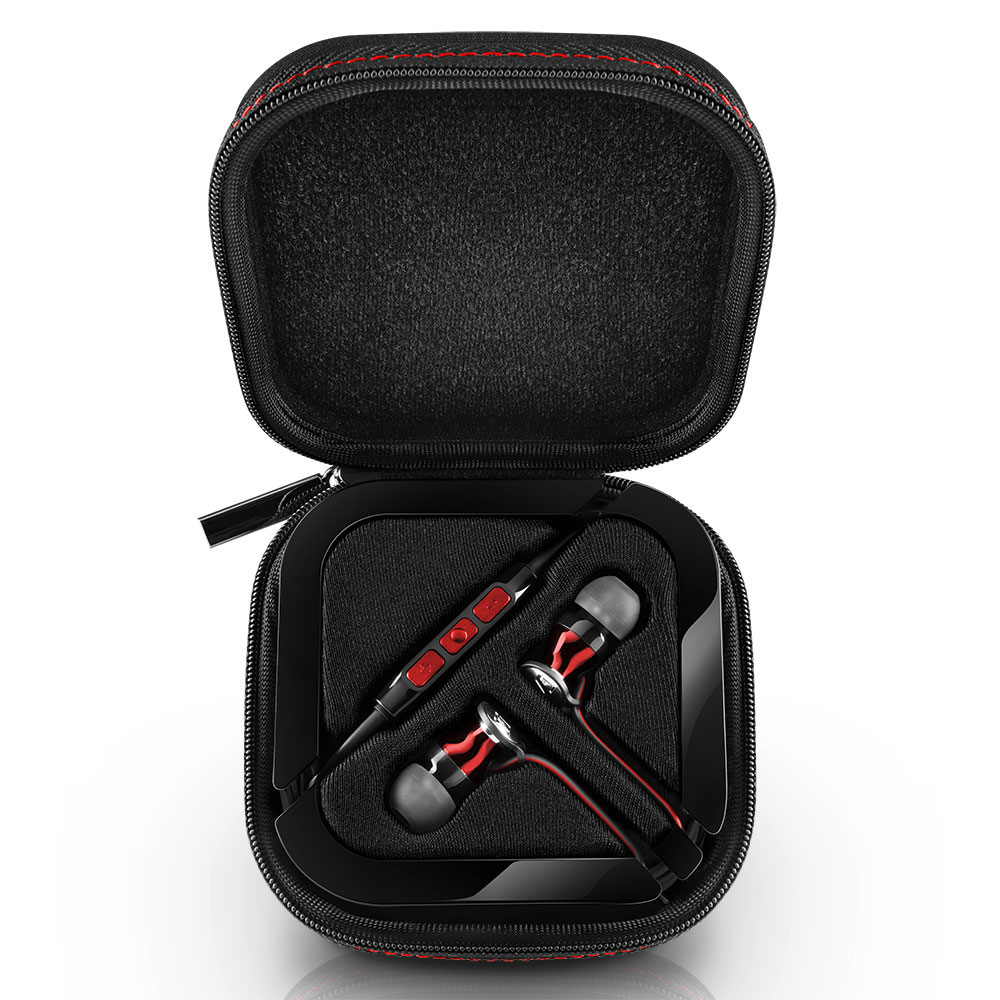 Sennheiser MOMENTUM In-Ear G Red Headphones - Carrying Box Open