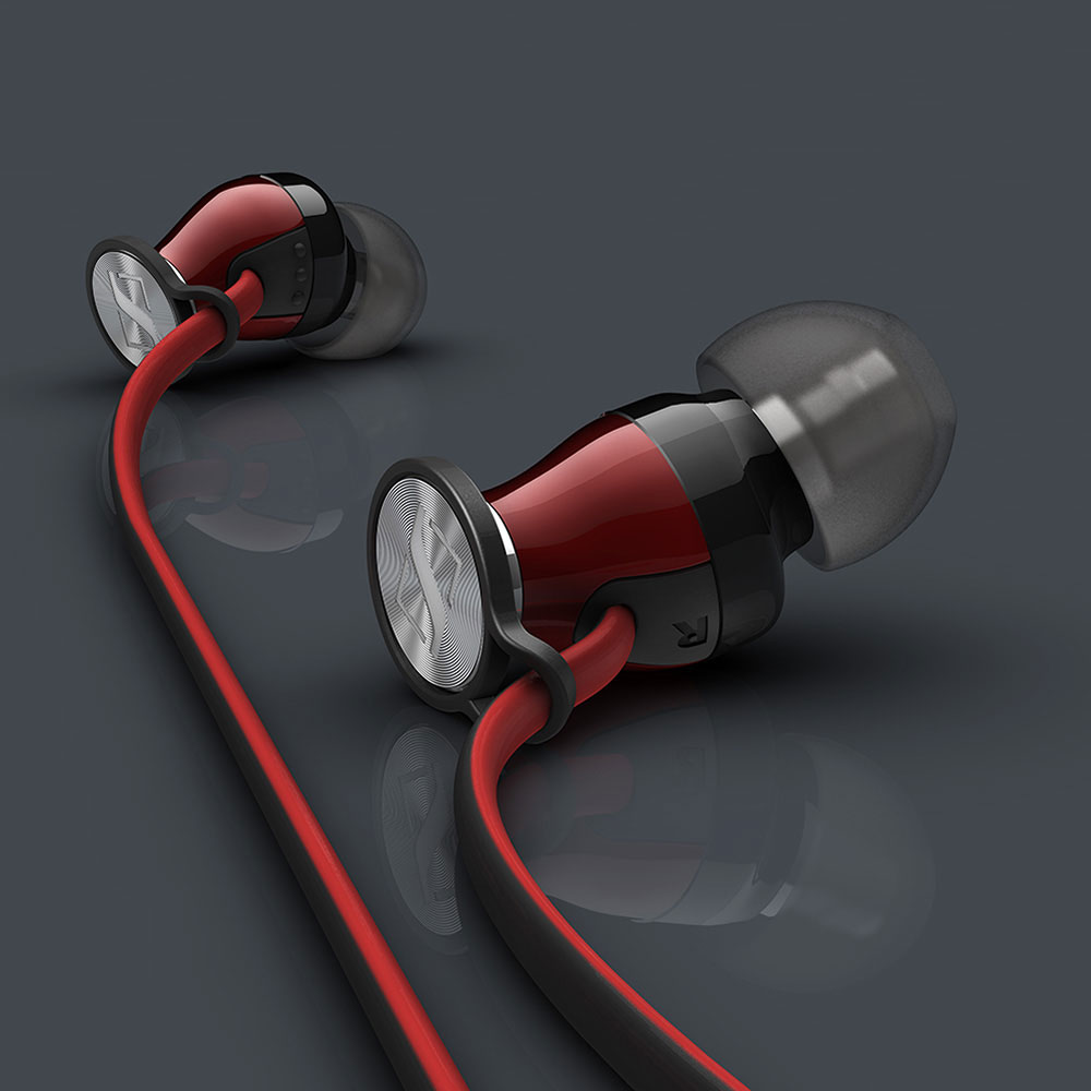 Sennheiser MOMENTUM In-Ear i Red Headphones - Product Shadows