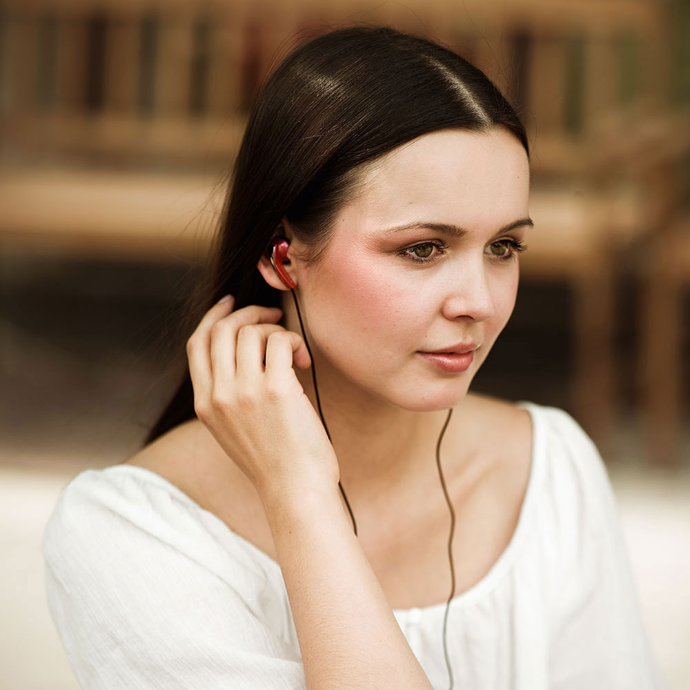 Sennheiser MX 365 Red Earphones - Product Application - Girl in close-up