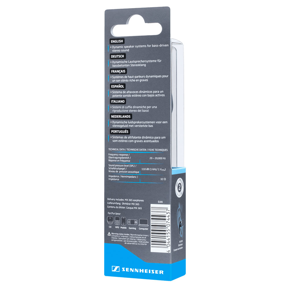 Sennheiser MX 365 White Earphones - Packaging Back